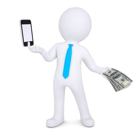 3d man changes the smartphone on the money  Isolated render on a white background photo