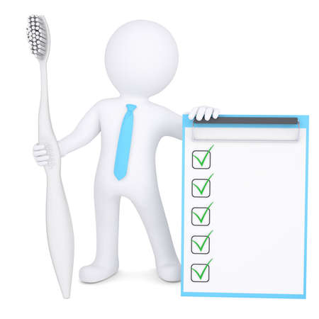 checklist icon: 3d man holding a big toothbrush and a checklist  Isolated render on a white background Stock Photo