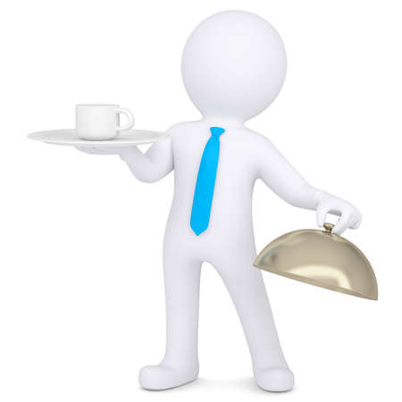 3d man holding a coffee cup on a platter  Isolated render on a white background photo