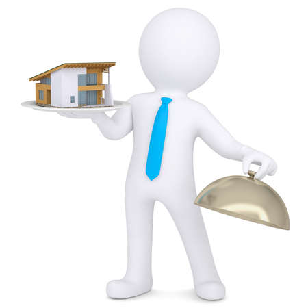 hit man: 3d man holding a house on a platter  Isolated render on a white background Stock Photo