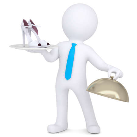 hold high: 3d man holding female shoes on a platter  Isolated render on a white background