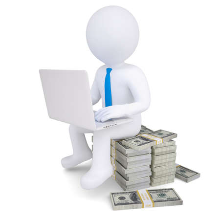3d man with laptop sitting on a pile of money  Isolated render on a white background photo