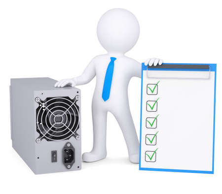 grounding: 3d person next to the computer power supply  Isolated render on a white background