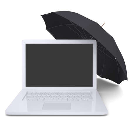 Umbrella covers the laptop  Isolated render on a white background photo