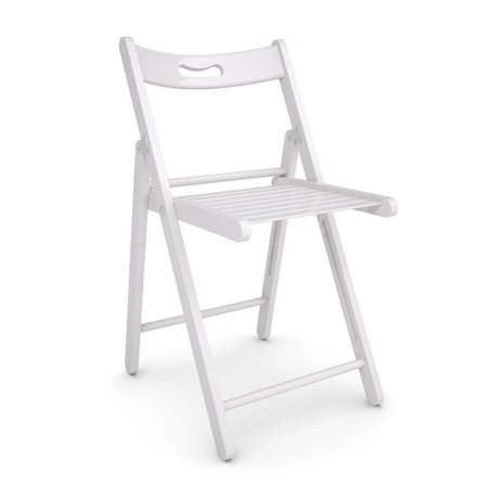 lounging: White folding chair  Isolated render on a white background