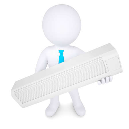 cooling: 3d man holding a conditioner  Isolated render on a white background