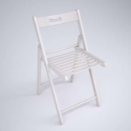 lounging: White folding chair  Render on gray background Stock Photo