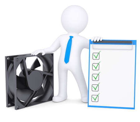 electric fan: 3d man next to a computer fan  Isolated render on a white background