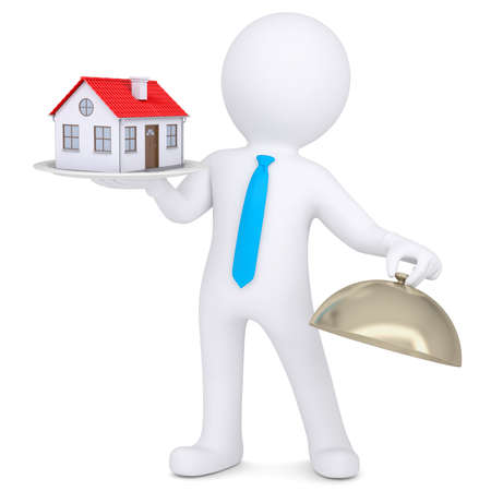 3d man holding a house on a platter  Isolated render on a white background photo