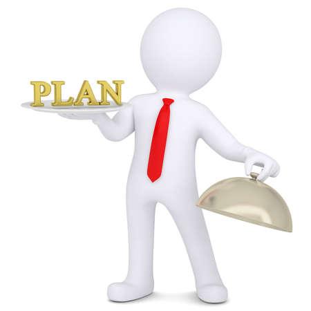 plan van aanpak: 3d man die een gouden plan op een schotel Geïsoleerde render op een witte achtergrond