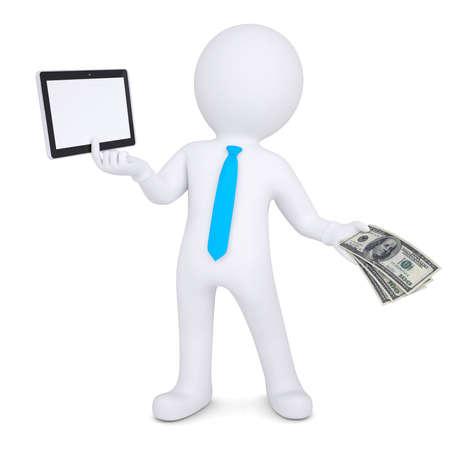 vendedor: 3d hombre cambia el tablet PC en el render aislado dinero en un fondo blanco