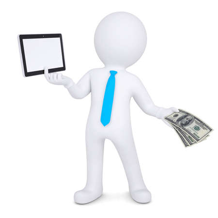 seller: 3d man changes the tablet PC on the money  Isolated render on a white background Stock Photo
