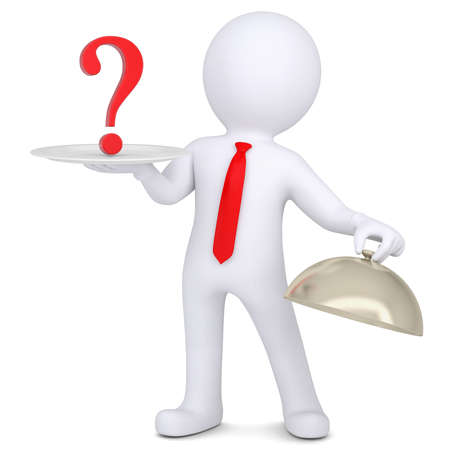 questionail: 3d man holding a question mark on the dish  Isolated render on a white background