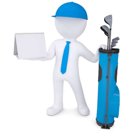 3d white man with a bag of golf clubsholding a calendar  Isolated render on a white background photo
