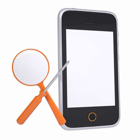 Smartphone and tools for repair and diagnostics  Isolated render on a white background photo