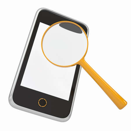 Smartphone and a magnifying glass  Isolated render on a white background photo