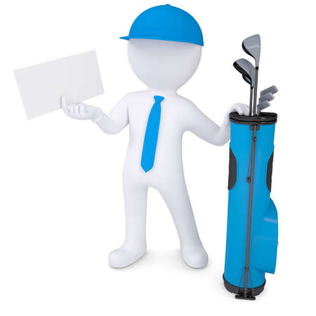 3d white man with a bag of golf clubs, holding a cardboard card  Isolated render on a white background photo