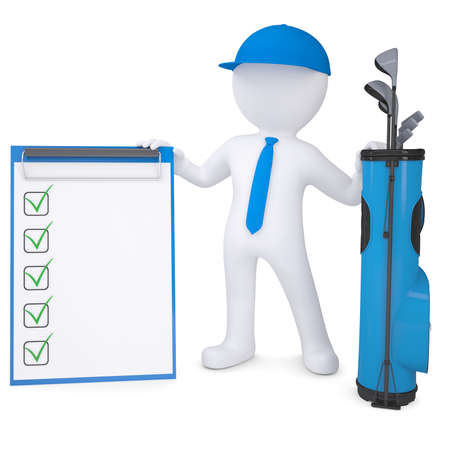 leant: 3d white man with a bag of golf clubs, holding checklist  Isolated render on a white background