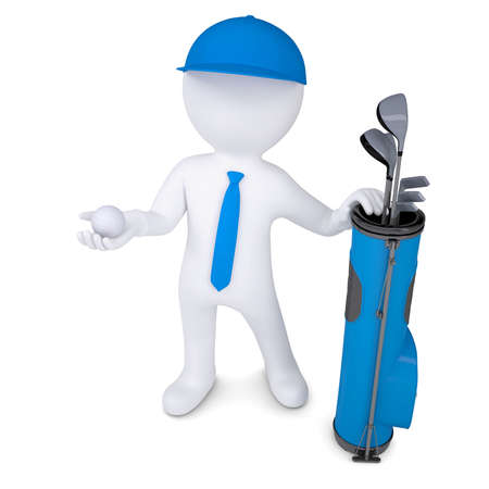 leant: 3d white man with a bag of golf clubs, is holding a golf ball  Isolated render on a white background