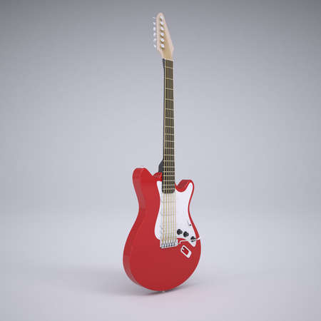 Red electric guitar  Render in the studio photo