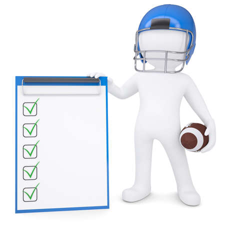 3d white man in helmet holding football ball and checklist  Isolated render on a white background photo