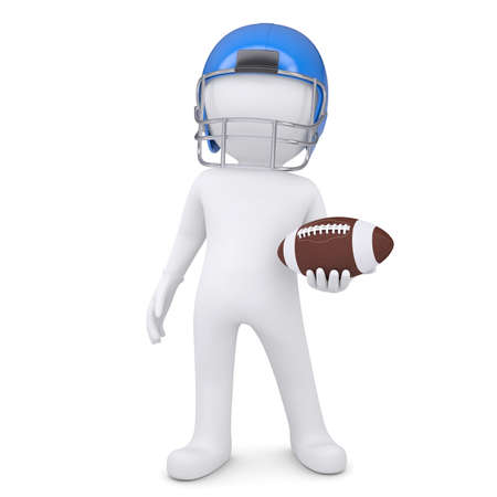 3d white man in helmet holding football ball  Isolated render on a white background photo