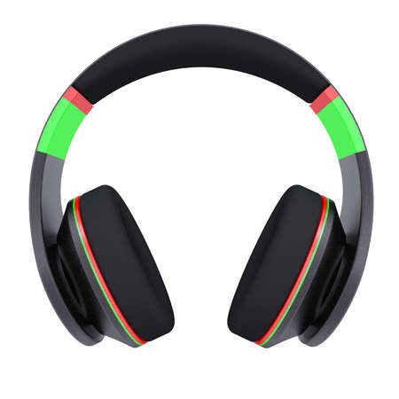 Stylish black headphones  Isolated render on a white background photo