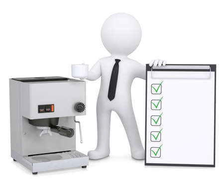 3d white man with a coffee machine and a checklist  Isolated render on a white background photo
