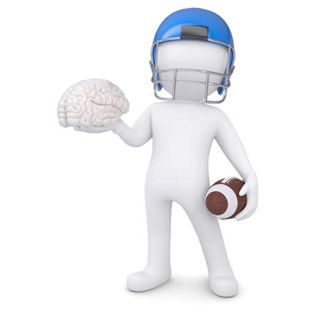 3d man in a football helmet keeps the brain  Isolated render on a white background photo