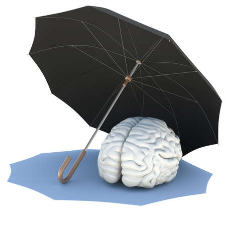 Umbrella covers the brain  Isolated render on a white background photo