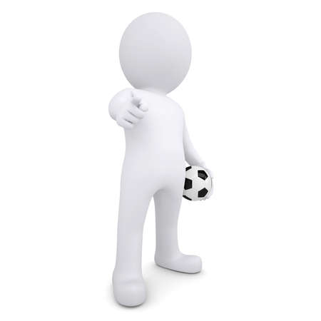 3d white man with a soccer ball points his finger at the viewer  Isolated render on a white background photo