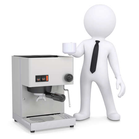3d white man with a coffee machine  Isolated render on a white background photo