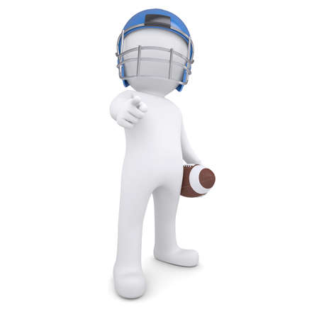 3d man in a football helmet points finger at the viewer  Isolated render on a white background photo