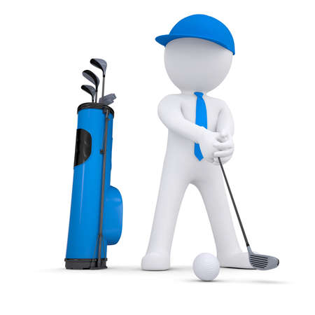 3d white man playing golf  Isolated render on a white background photo
