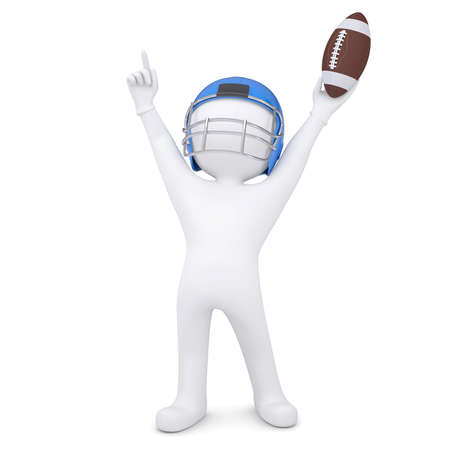 3d man in a football helmet raised his hands up  Isolated render on a white background photo