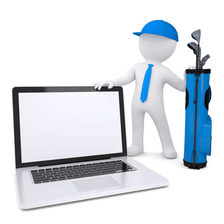 3d white man with a bag of golf clubs, holding a laptop  Isolated render on a white background photo