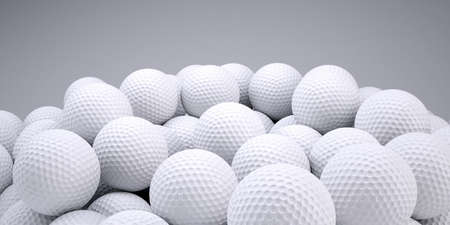 golf balls: Background is out of golf balls  3d render Stock Photo