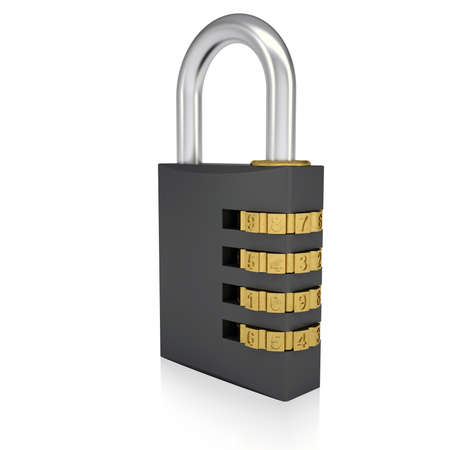 4 door: Metal combination lock  Isolated render on a white background