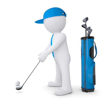 slashing: 3d white man playing golf  Isolated render on a white background