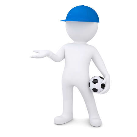 3d white man with soccer ball holds out empty hand  Isolated render on a white background photo