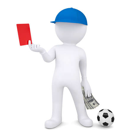 soccer referees hand with red card: 3d football referee took a bribe  Isolated render on a white background