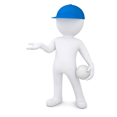 3d white man with volleyball ball holds out empty hand  Isolated render on a white background photo