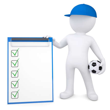 3d white man with soccer ball and checklist  Isolated render on a white background photo