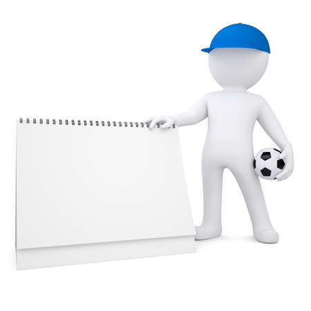 3d white man with soccer ball and desktop calendar  Isolated render on a white background photo