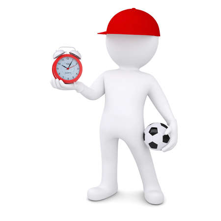3d white man with soccer ball and alarm clock  Isolated render on a white background photo