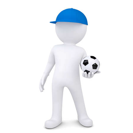 3d white man with soccer ball  Isolated render on a white background photo