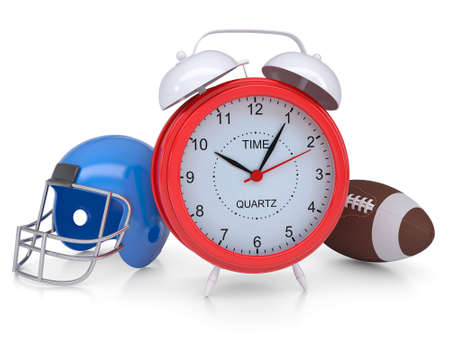 sports symbols metaphors: Alarm clock, a football helmet and ball  Isolated render on a white background