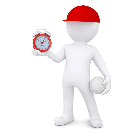 3d white man with a volleyball ball holding alarm clock  Isolated render on a white background photo