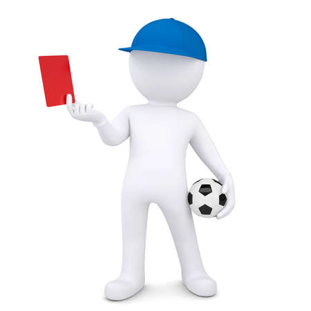 3d white man with soccer ball shows red card  Isolated render on a white background photo