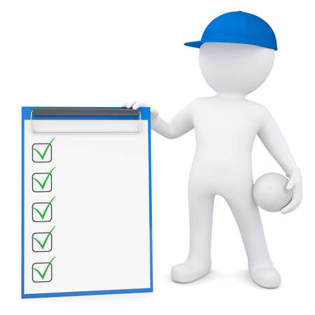 3d white man with a volleyball ball holding checklist  Isolated render on a white background photo